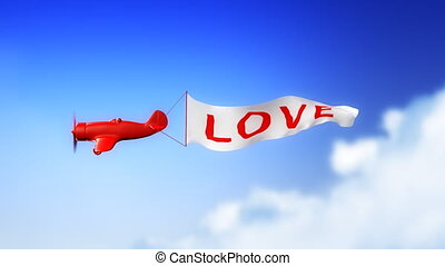 Love Plane in Clouds (Loop) - Little plane with LOVE text on...