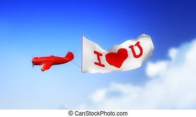 I Love You - Plane in Clouds Loop - Little plane with I LOVE...