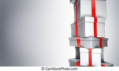 Pile of Gifts Loop - Pile of white presents turning in loop,...