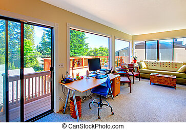 Home office and living room house interior with balcony view...