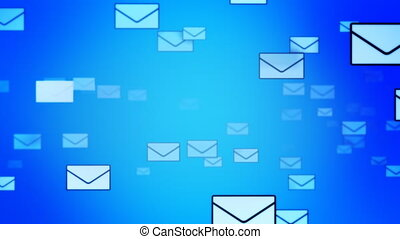 Sending Mails background Loop - Letters flying through space...