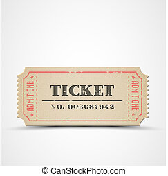 Vector vintage ticket - Old Vector vintage paper ticket with...