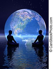 Meditation for earth - Two human silouhettes meditating in...