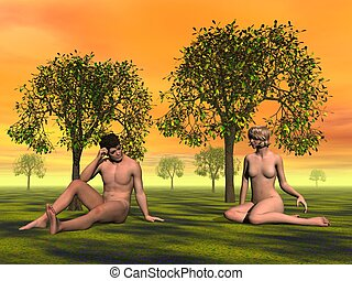 Adam and Eve - Naked Adam and Eve sitting on the grass in...