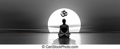 Meditation and om - Man meditating under om symbol upon the...