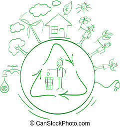 cartoon ecological packing set