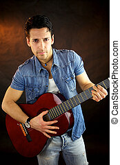 Male model with guitar