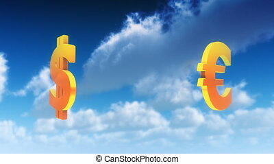Currency Symbols in Clouds Loop - Currency icons turning in...