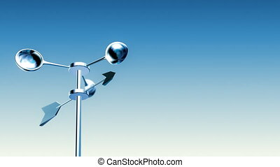 Anemometer (Loop with Luma Matte) - Wind Meter spinning in...