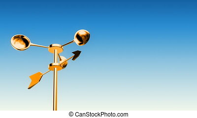 Anemometer Gold (Loop - Luma Matte) - Wind Meter spinning in...