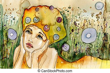 summer - Stock Photo: watercolor illustration of a...