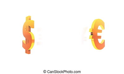 Currency Symbols Loop - Currency symbols turning in front of...