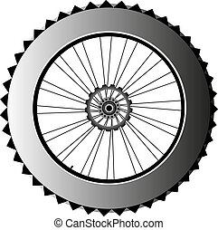 metal bike wheel with tire and spokes vector - bike wheel...