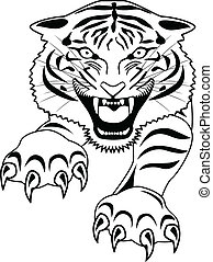 Tiger Tattoo - Vector Illustration Of Squence Of Bean Seed...