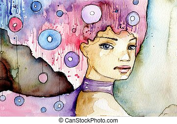 beautiful girl - watercolor illustration of a beautiful,...