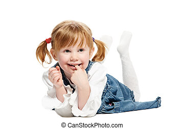 One funny playful little girl on white background