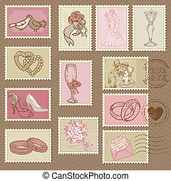 Wedding Postage Stamps in vector