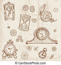 Set of Vintage Doodle Clock and gear - hand drawn in vector