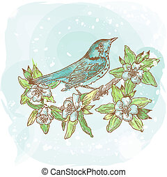 Spring Bird Illustration - hand-drawn in vector