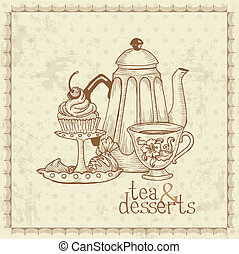 Tea and Desserts - Vintage Menu Card in vector