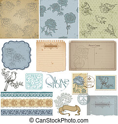 Scrapbook design elements - Vintage Bird and Peony Set - in...