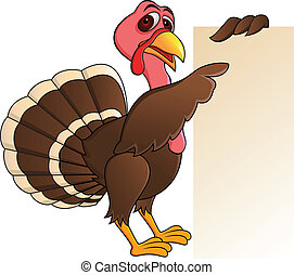 Turkey Cartoo With Blank Sign - Vector Illustration Of...