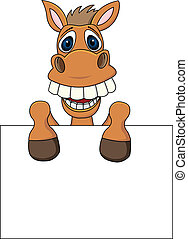 Horse With Blank Sign - Vector Illustration Of Horse With...