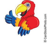 Parrot With Blank Sign - Vector Illustration Parrot With...