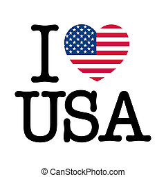 I Love USA, heart make with United States of America flag