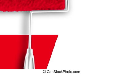Painting Flag - Poland - Roller painting Polish flag.