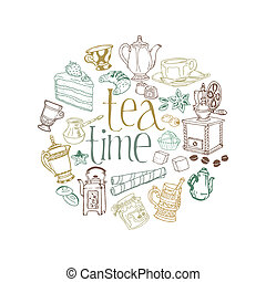Card with Tea and Coffee Doodles in vector