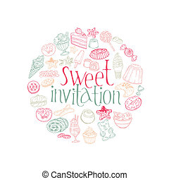 Set of Cakes, Sweets and Desserts -Invitation Card in vector