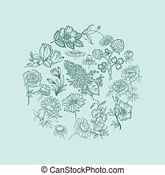 Vintage Card with Various Flowers  - in vector