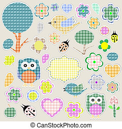 Nature textile stickers. animals and flowers