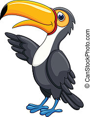 Toucan Cartoon - Vector Illustration Of Toucan Cartoon