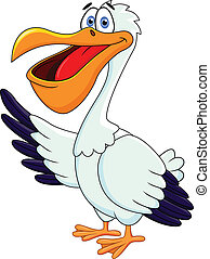 Pelican Cartoon - Vector Illustration Of Pelican Cartoon