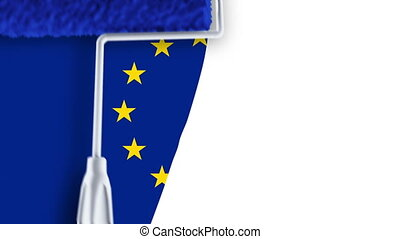 Painting Flag - EU - Roller painting EU flag.