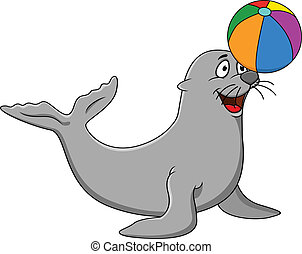 Seal playing - Vector illustration of seal plying colorful...