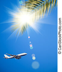 Airplane flying in blue sky. Vacations concept