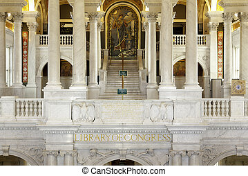 Interior of Library Congress in Washington DC - Ornate...