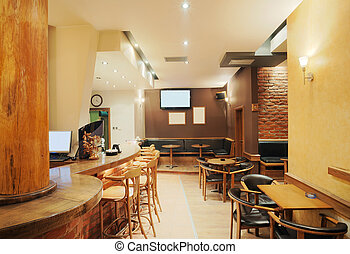 Cafe interior - Modern and simple cafe interior with wooden...