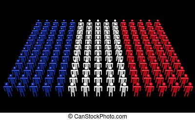 people in colors of French flag illustration