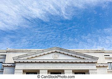 Dirksen Senate office building facade Washington - Carving...