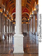 colunas, biblioteca,  Washington,  DC, Congresso