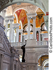 Ceiling of Library Congress in Washington DC - Ornate...