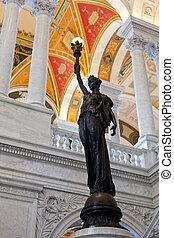 estátua, biblioteca,  Washington,  DC, Congresso