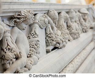 Carving in Library Congress in Washington DC - Statues of...