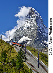 Matterhorn railway from Zermatt to Gornergrat. Switzerland -...