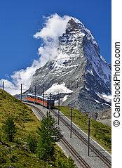 Matterhorn railway from Zermatt to Gornergrat. Switzerland -...