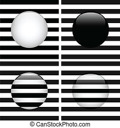 Set of Four Glass Circle Black and White Stripes - Vector -...